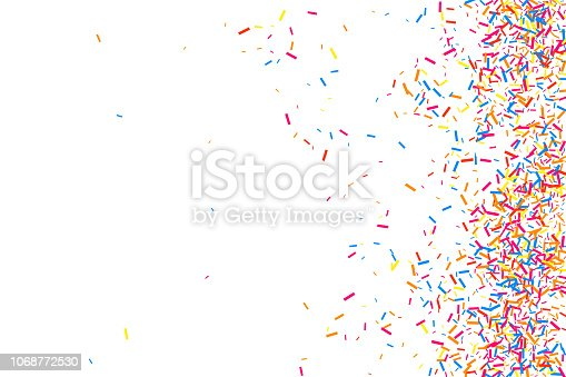 Colorful Explosion Of Confetti. Grainy Abstract Multicolored Texture Isolated On White Background. Flat Design Element. Vector Illustration, Eps 10.