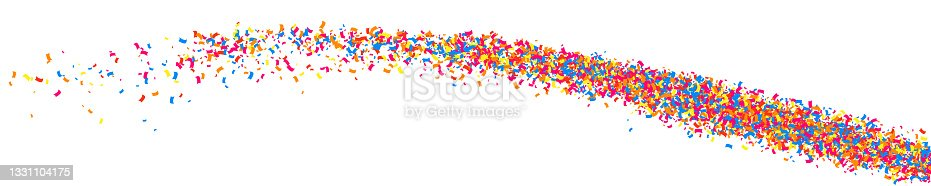 istock Colorful explosion of confetti.  Panoramic Background. 1331104175