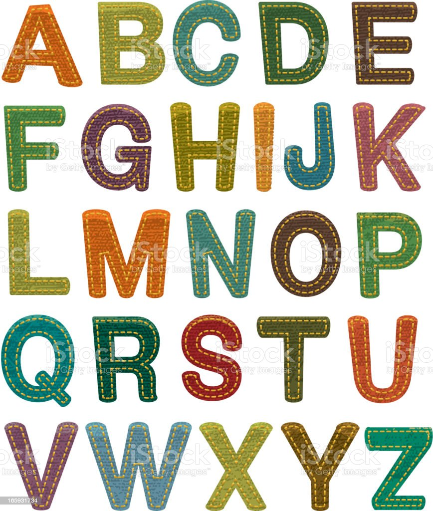 Colorful fabric alphabet set with stitching vector art illustration