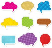 star shaped speech bubble yellow, heart shaped speech bubble pink, hexagon speech bubble green, cloud speech bubble blue, geometry balloon for text colorful isolated on white for copy space