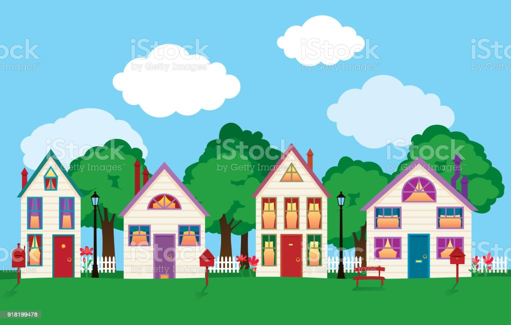 Ilustración de Colores Fachadas De Las Casas Viejas En Una ...