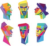 Vector Illustration of colorful human faces with transparency in eps 10