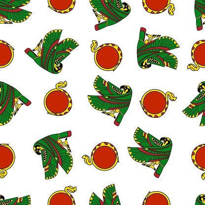 Colorful falcon and sun-disk cobra seamless pattern vector