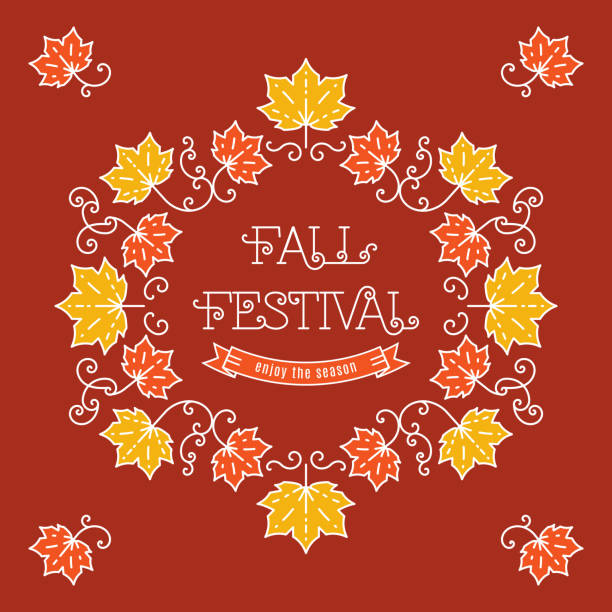 Colorful fall festival template Frame maple leaves Colorful fall festival template posters in trendy art line style. Elegant frame with maple leaves, art line lettering. Vector illustration autumn harvest festival maple syrup stock illustrations