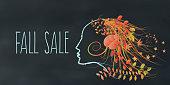 colorful fall sale illustration on chalkboard