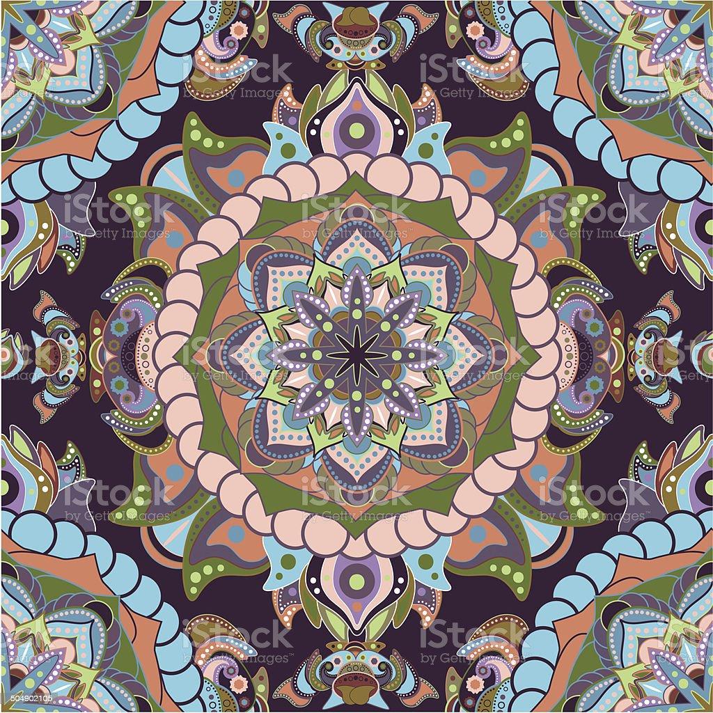 Colorful fantastic seamless pattern. Ethnic background vector art illustration