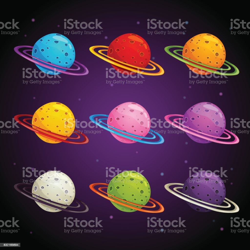 Colorful fantasy planets set