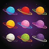 Colorful fantasy planets set