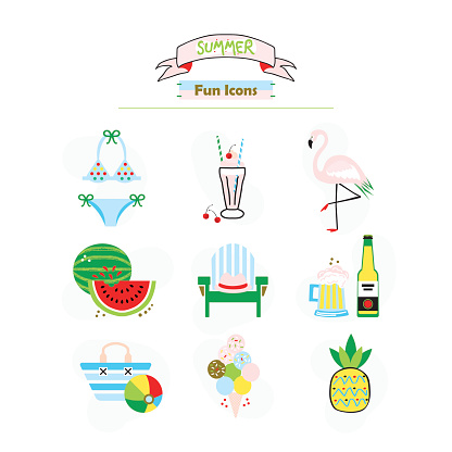 Colorful fashion trends summer and beach fun icons set on white background