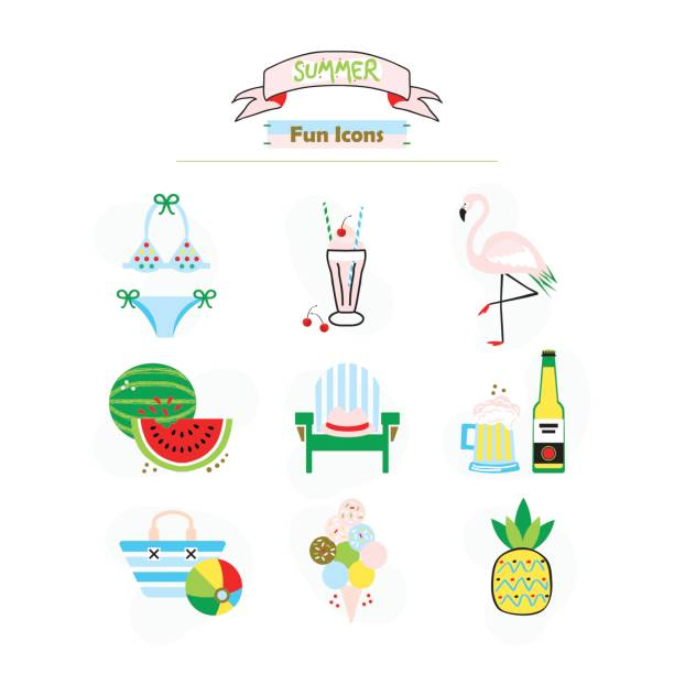 Colorful fashion trends summer and beach fun icons set on white background Colorful fashion trends summer and beach fun icons set on white background adirondack chair stock illustrations