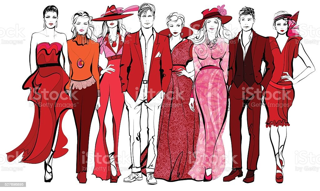 Colorful fashion women and men defile vector art illustration