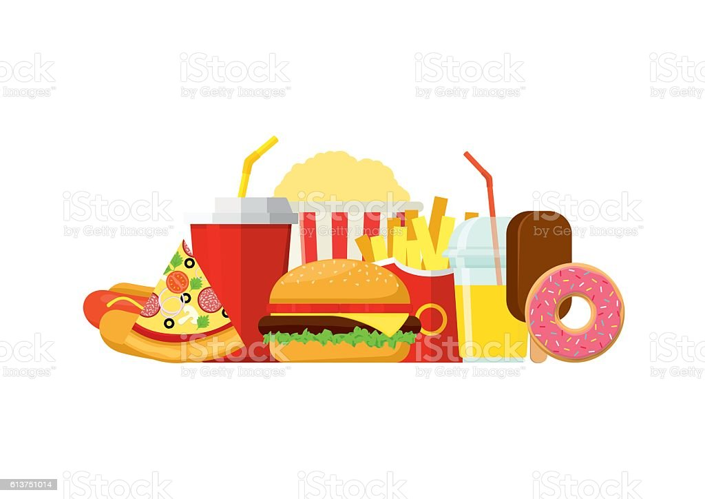 Colorful Fast food isolated on white background. - Illustration vectorielle