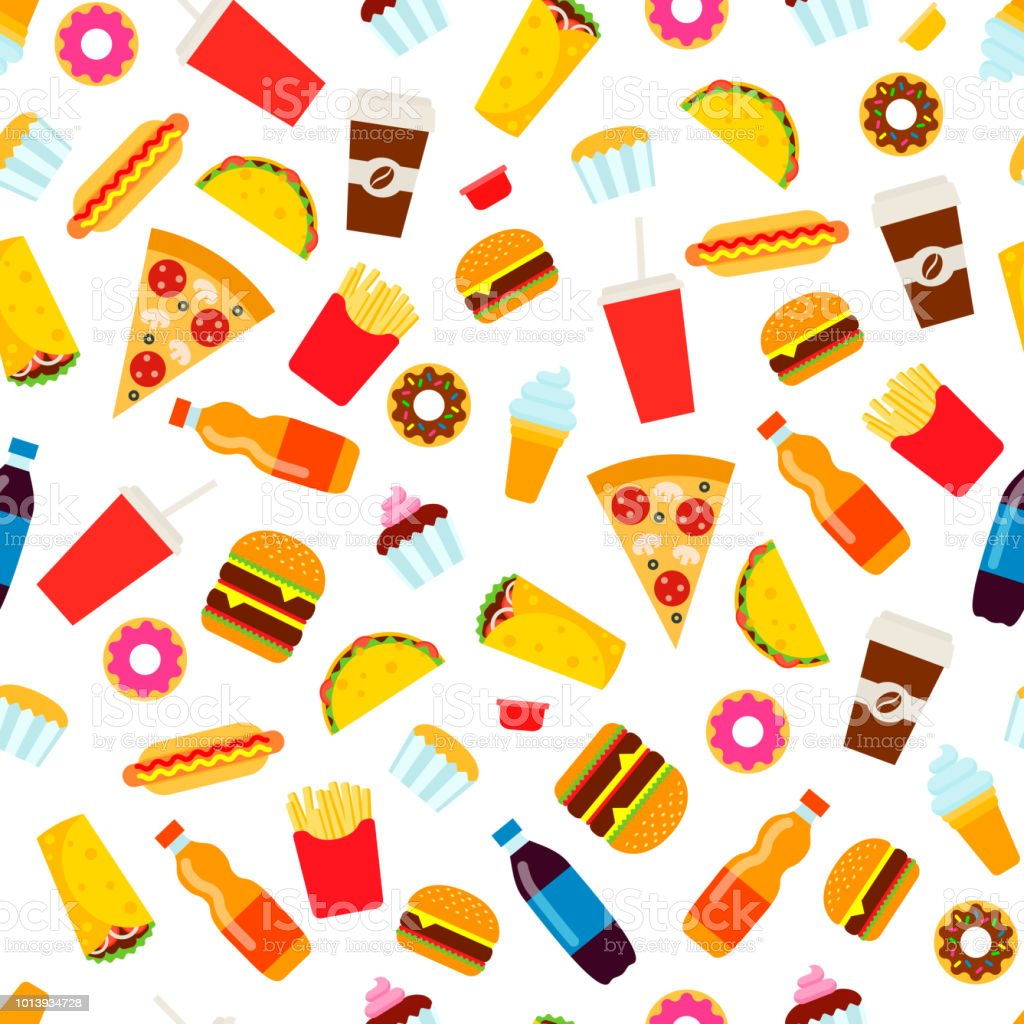Colorful fast food seamless pattern. vector art illustration