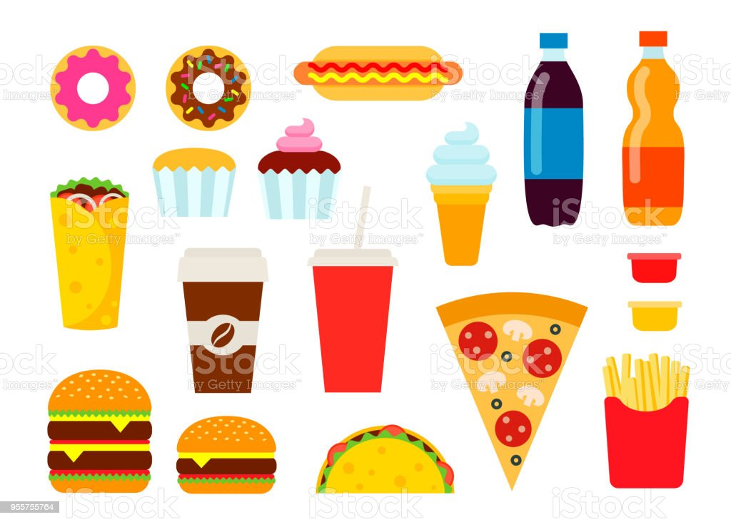 Fast-Food coloré situé dans style plat. Collection de malbouffe vector icons. Illustration d'alimentaire malsaine. - Illustration vectorielle