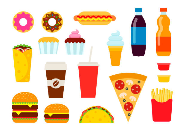 colorful fast food set in flat style. junk food vector icons collection. unhealthy eating illustration. - junk food stock illustrations, clip art, cartoons, & icons