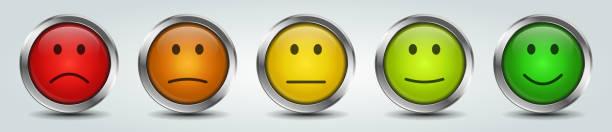 illustrations, cliparts, dessins animés et icônes de boutons de smiley colorés de rétroaction - relation client