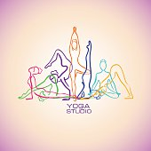 Colorful Female Silhouettes Doing Yoga Poses.
