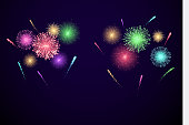 Colorful Festival fireworks. banner for Diwali and ather holiday and event. Vector illustration isolated on transparent background