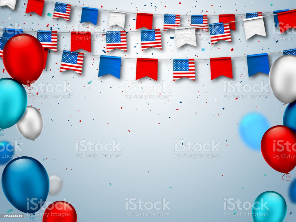Colorful Festive Garlands Of Usa Flags And Air Balloons Decorative
