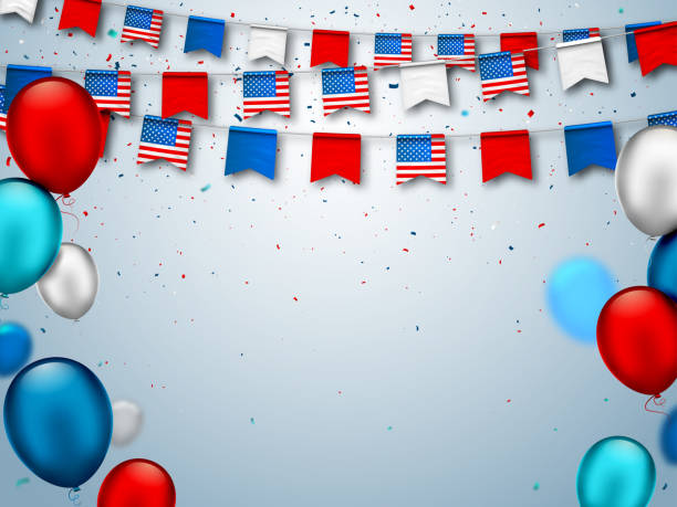 Colorful festive garlands of USA flags and air balloons. Decorative patriotic symbols for national holidays in America. Vector banner for celebrate American Independence, labor, patriot day. Independence, veterans, inauguration, Memorial, Columbus, Thanksgiving, president inauguration stock illustrations