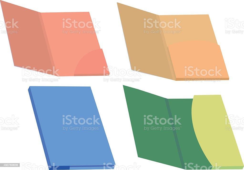 Colorful File Folders Vector Illustration vector art illustration