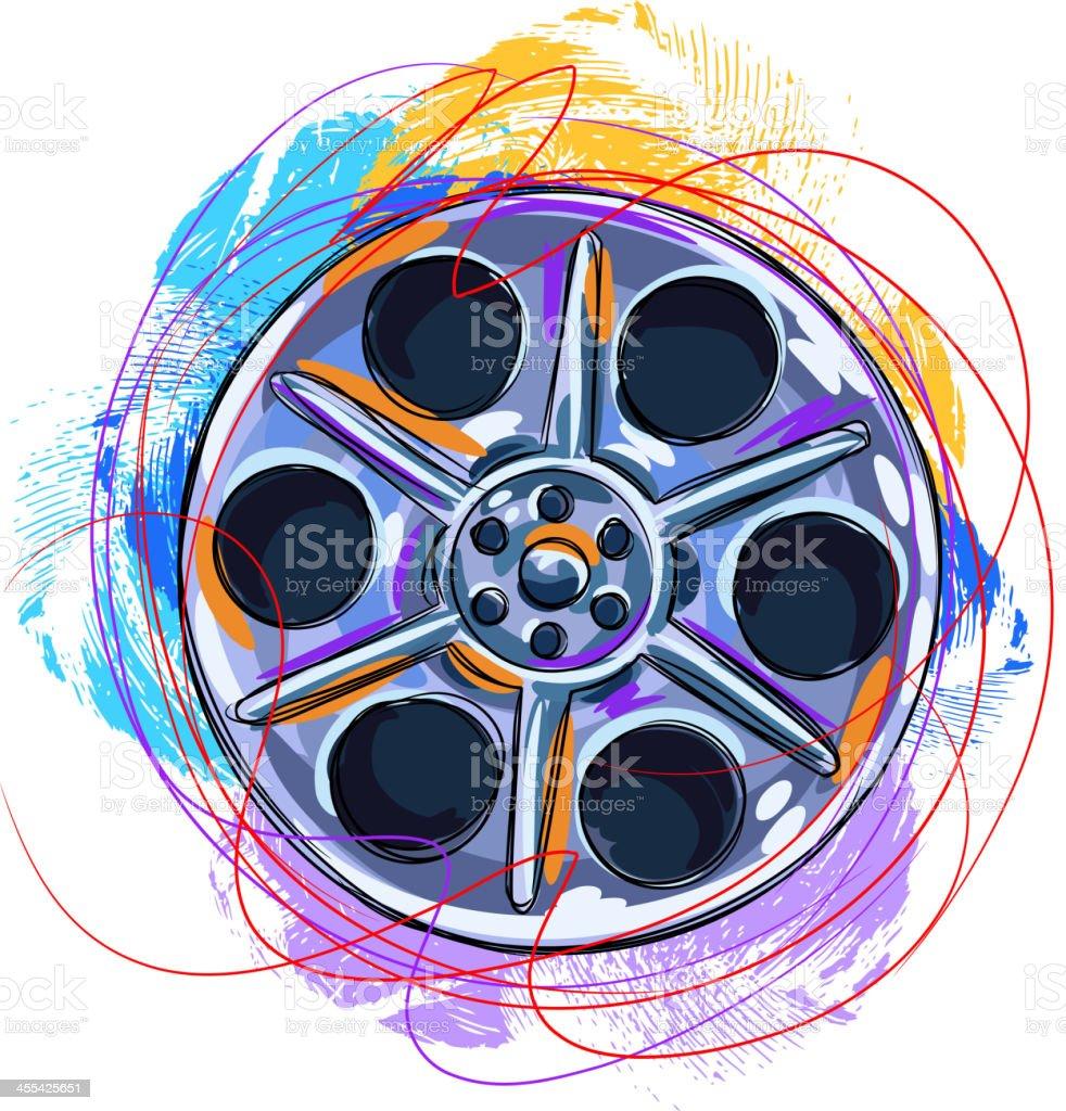 Colorful Film reel vector art illustration