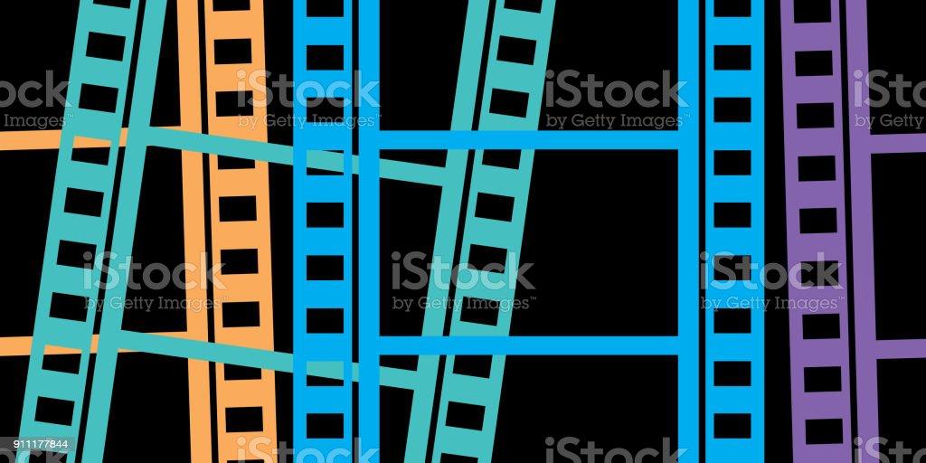 Colorful Filmstrips Background vector art illustration