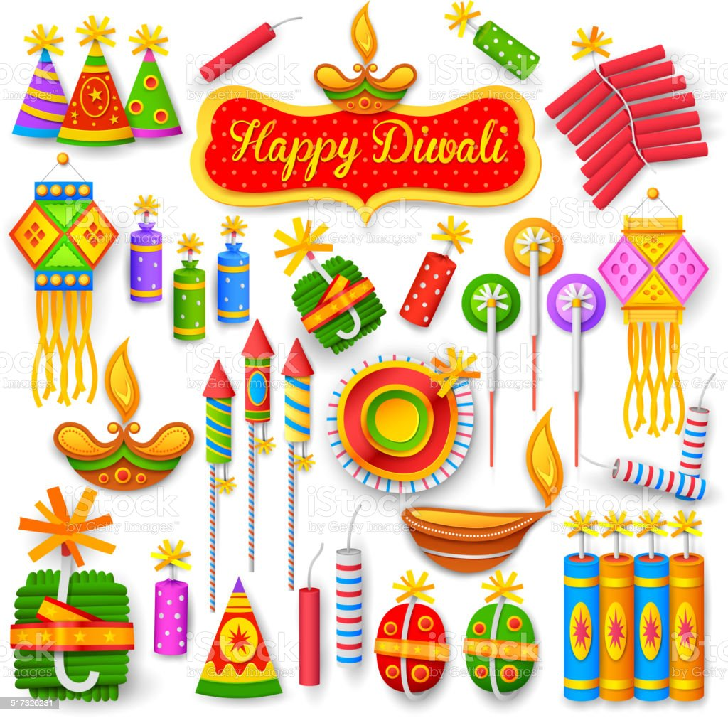 Colorful firecracker for Diwali holiday fun vector art illustration