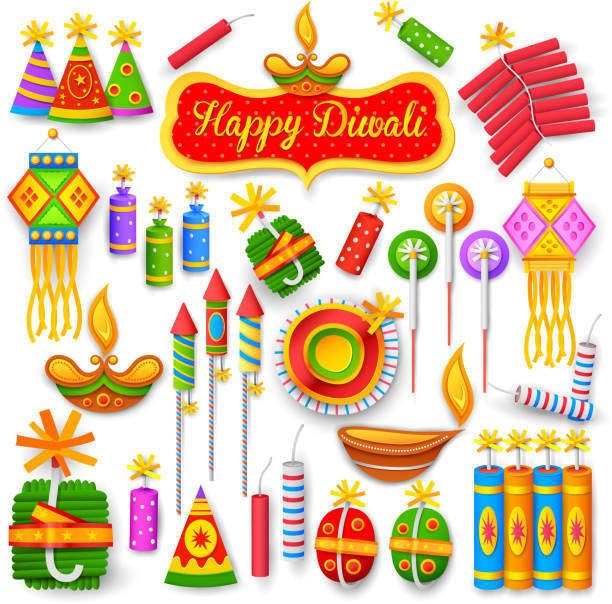colorful firecracker for diwali holiday fun - diwali stock illustrations, clip art, cartoons, & icons