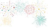 Vector Illustration of Colorful fireworks background