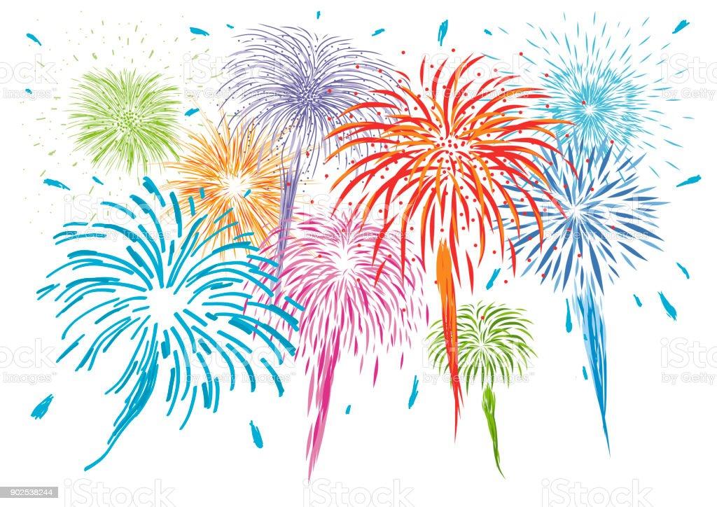 Buntes Feuerwerk isoliert auf weißem Hintergrund-Vektor-illustration – Vektorgrafik