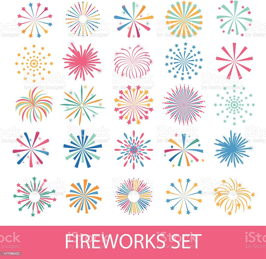 Colorful fireworks set isolated vector art illustration
