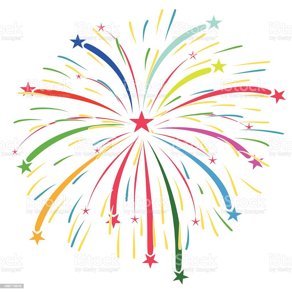 Colorful Fireworks Vector Art On A White Background Stock ...