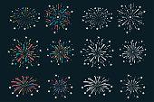 Fireworks, firecracker vector cartoon set.