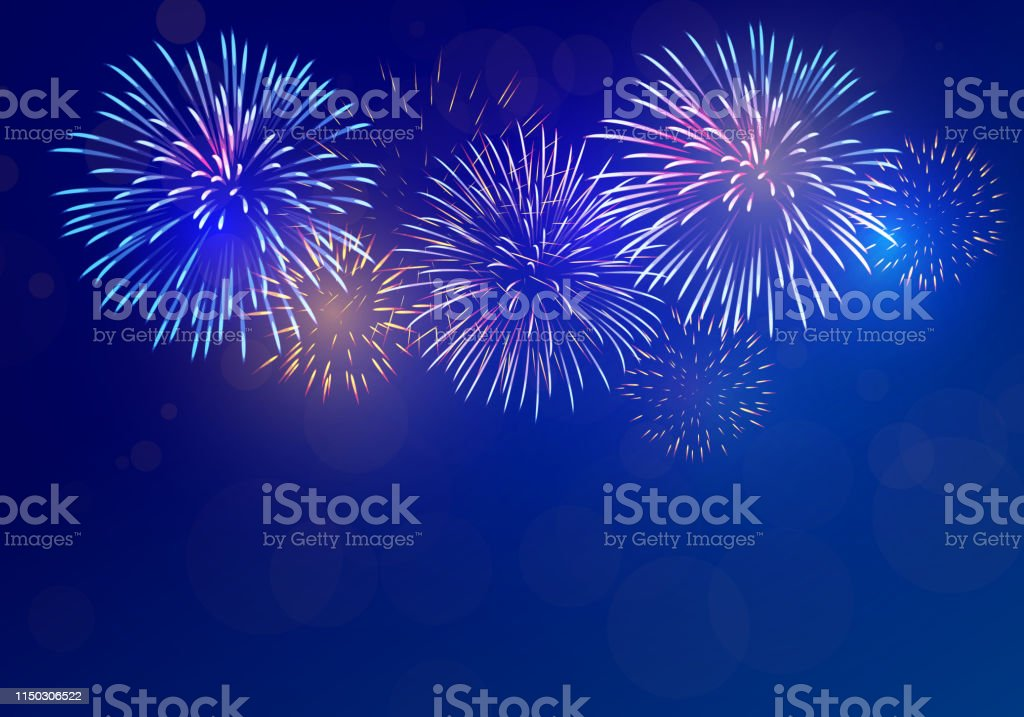 colorful fireworks vector on dark blue background with sparking bokeh clipping mask Abstract stock vector