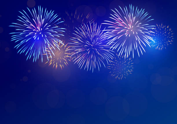 colorful fireworks vector on dark blue background with sparking bokeh - fireworks stock illustrations