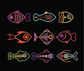 Aquarium Fishes - set of vector icons. Isolated on black background. Can be used as logo.