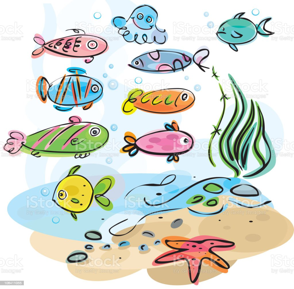 Colorful fishes underwater royalty-free stock vector art