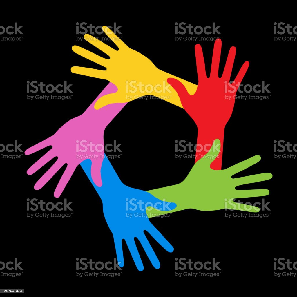 Colorful Five Hands Icon on black background, vector illustration