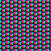 Colorful five-pointed star on black background - vector pattern