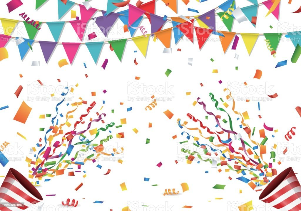Colorful flag, confetti and party popper on white background vector art illustration