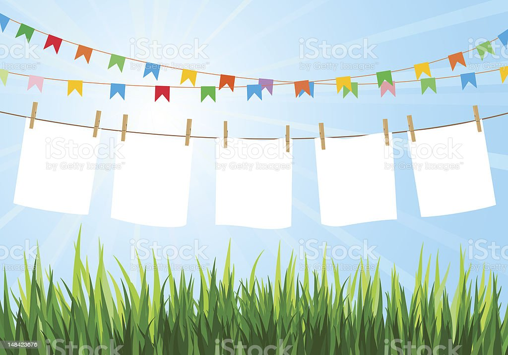 Colorful flags above hanging paper with clothes pins vector art illustration
