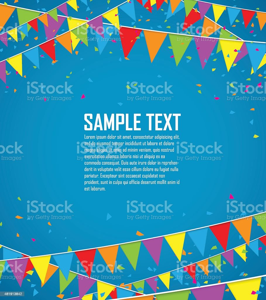 Colorful flags and confetti vector art illustration