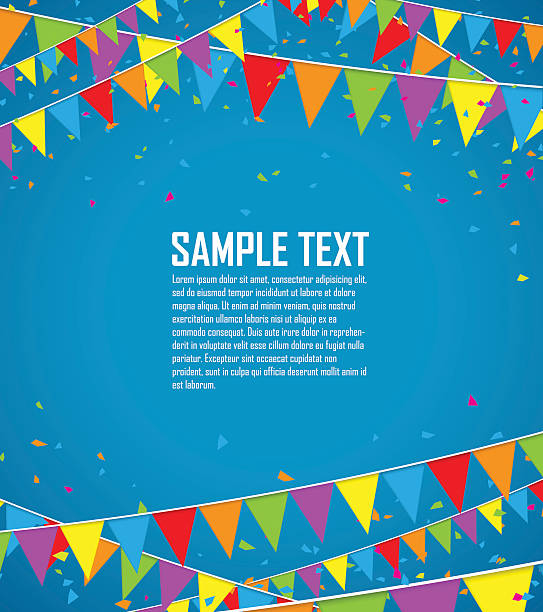 colorful flags and confetti - celebrations and parties background stock illustrations