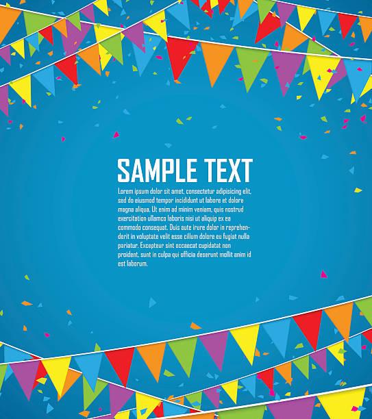 鮮やかな旗と紙吹雪 - 祝う点のイラスト素材/クリップアート素材/マンガ素材/アイコン素材