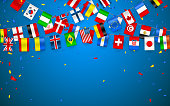 Colorful flags garland of different countries of the europe and world with confetti. Festive garlands of the international pennant. Bunting wreaths. Vector banner for celebration party, conference.