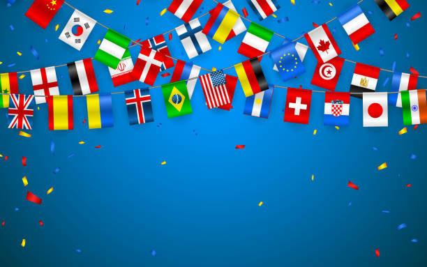 Colorful flags garland of different countries of the europe and world with confetti. Festive garlands of the international pennant. Bunting wreaths. Vector banner for celebration party, conference Colorful flags garland of different countries of the europe and world with confetti. Festive garlands of the international pennant. Bunting wreaths. Vector banner for celebration party, conference. national flag illustrations stock illustrations
