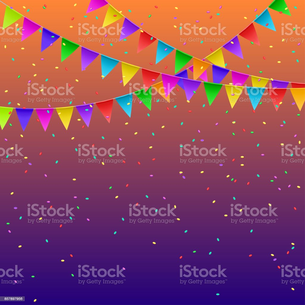 Colorful flags garlands on gradient background. Party decoration frame for birthday, carnival, celebration. Vector illustration. vector art illustration