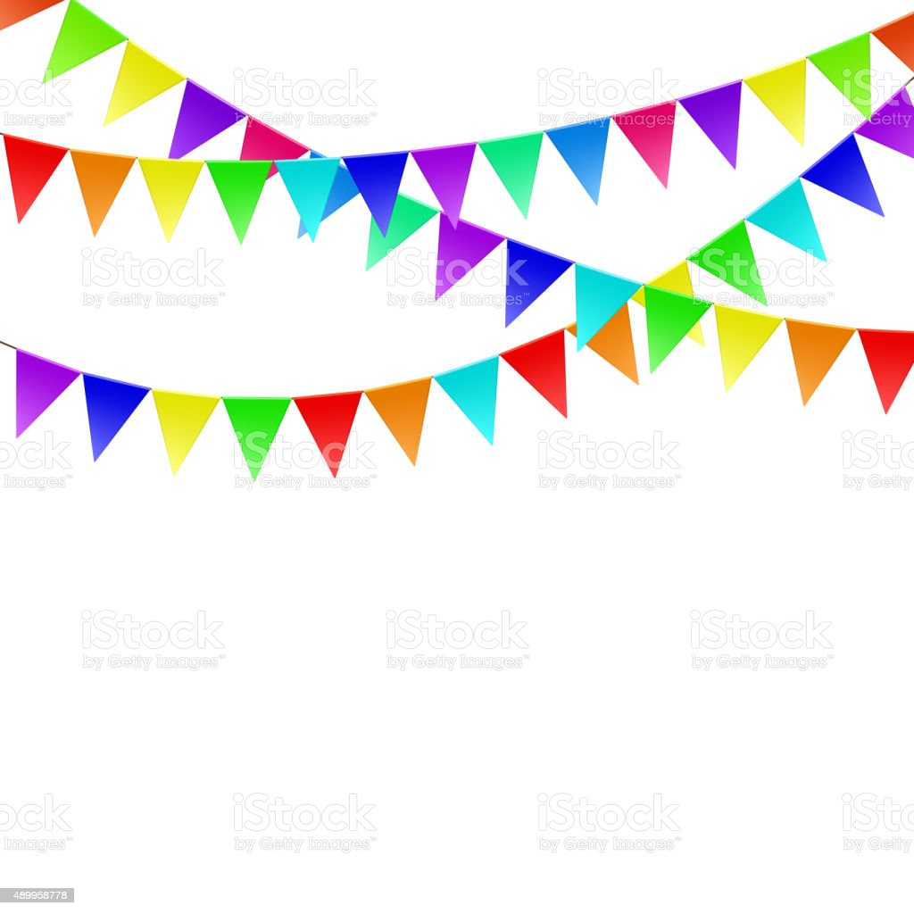 Colorful flags vector art illustration