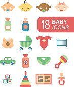 Colorful flat baby icons. Vector infographic